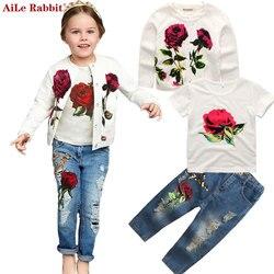 AiLe Rabbit/новая осенняя одежда для девочек, костюм, куртка футболка, джинсы комплект из 3 предметов, модный розовый кардиган, топы, Детское пальт...
