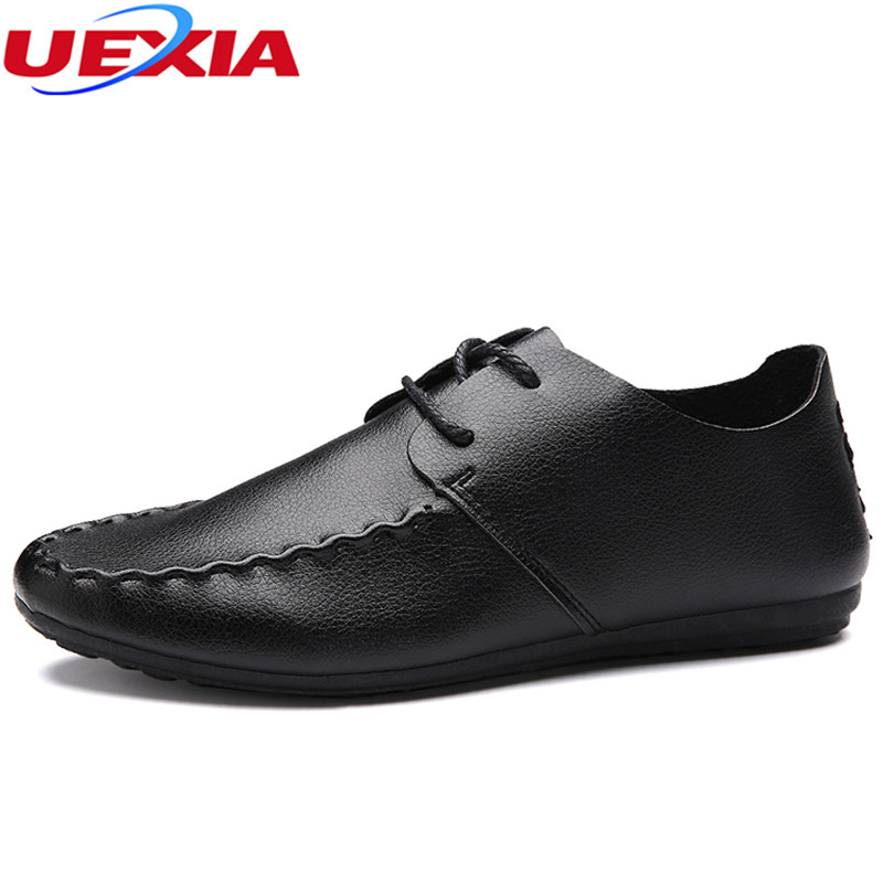 UEXIA High Top Comfortable Casual Driving Shoes Lace-Up Men Shoes Soft Leather Breathable Fashion Flats Loafers Round Footwear split leather dot men casual shoes moccasins soft bottom brand designer footwear flats loafers comfortable driving shoes rmc 395