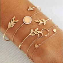 Temperament retro bohemian bracelet gold leaf circle arrow simple female trend jewelry 2019 new fashion gift adjustable