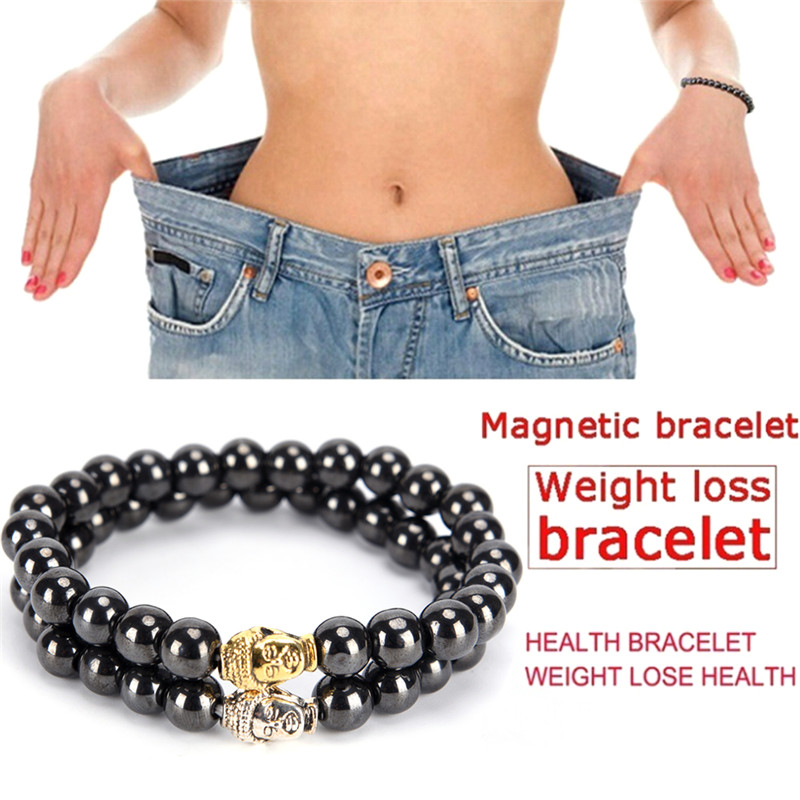 Black Slimming Product Weight Loss Magnetic Bracelet Beads Stone Therapy Women Magnet Hematite Beads Bracelet Health Care