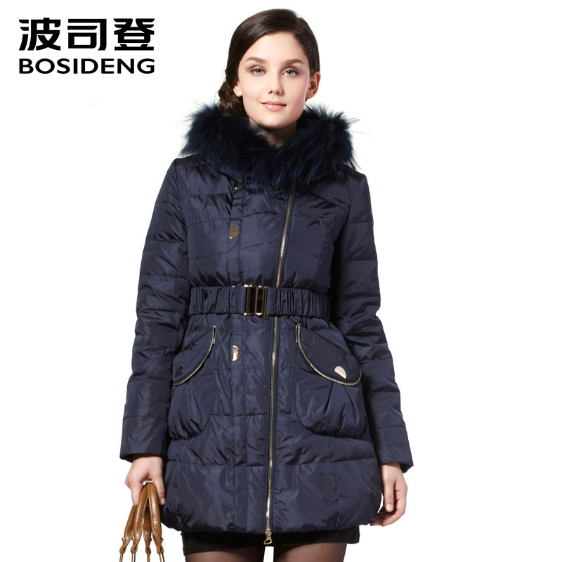 bosideng mid-long   down   jacket for women   down     coat   long parka natural fur real fur collar hooded thicken outwear belt B1301224