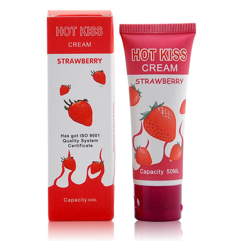 Hot Kiss strawberry cream edible lubricant 50 ml anal lubricant excite woman fly oral lube free vaginal lubrication A6 aladdin magic lube 5oz teflon lubricant sealant 631