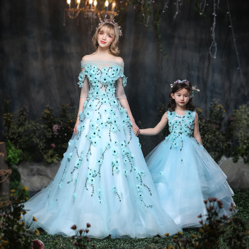 Mommy and Me Mother Daughter Wedding Dress Clothes baby Maxi Dresses Family Princess Party Clothing Mom and Daughter Dress Blue 2018 mommy and me family matching mother daughter fish print dresses clothes mom and daughter dress kids parent child outfits