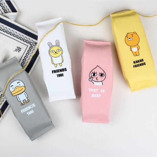 JDANCEC Korean Creative  School Pencil Case Cute Pu Leather Pen Bag Kawaii Stationery Pouch Office School Supplies Zakka Пенал