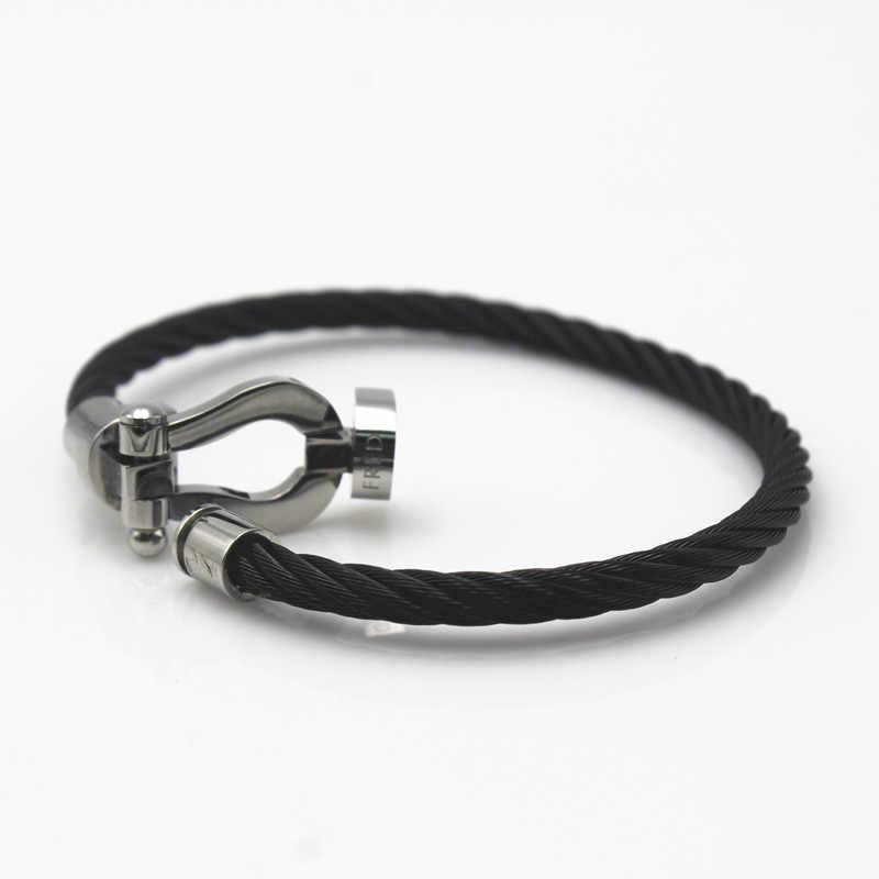 U-образная Нержавеющаясталь пряжки ремня браслеты и Браслеты Для мужчин браслет панк черный браслет браслеты для Для мужчин Для женщин подарок