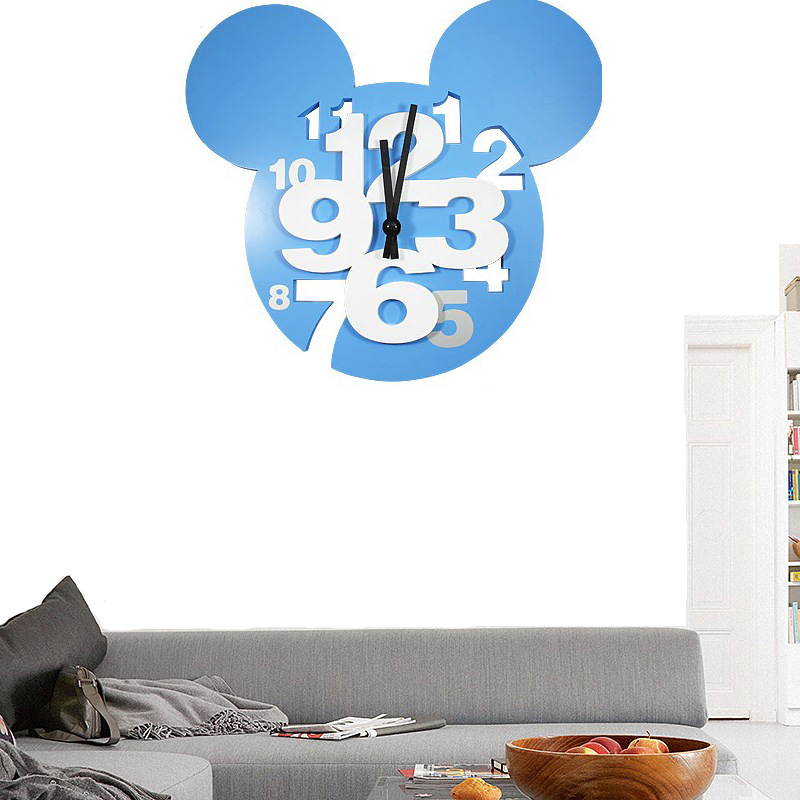 Mickey Mouse large digital decorative wall clock modern design silent 3d wall clock hanging on the wall kitchen watch home decor