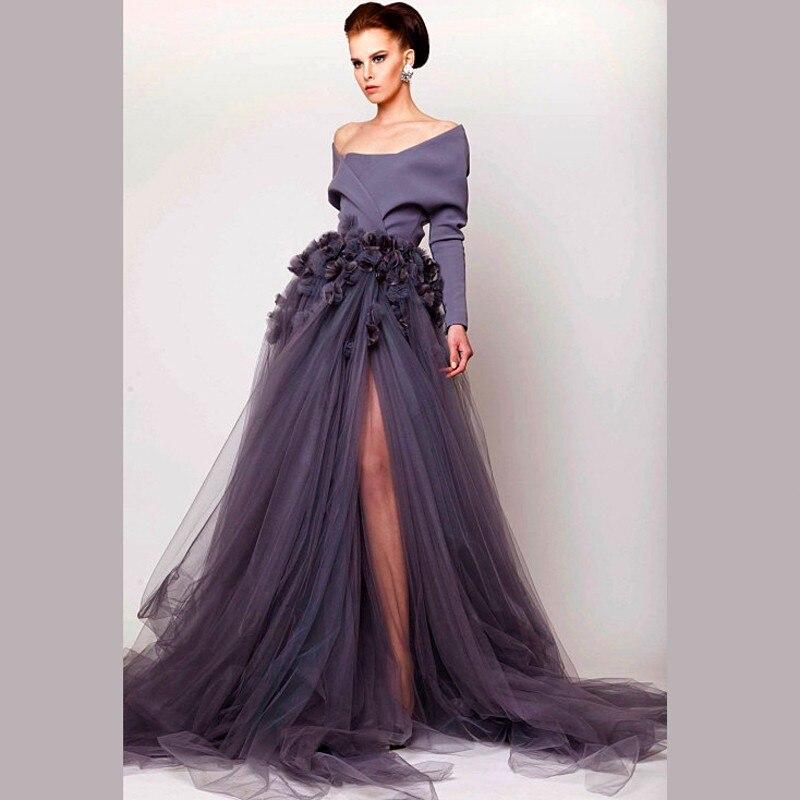 Baratos Vestido De Fiesta Elegante Gris Único Dubai Vestidos de ...