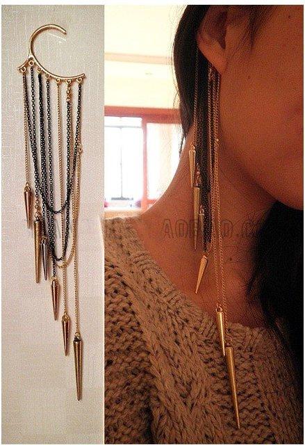 Artilady cartilage chain chomp earrings vintage ear cuff tassels earrings women jewelry for party gift
