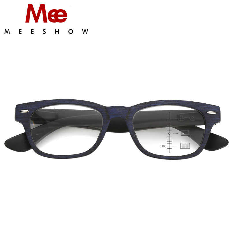 2019 progressive reading glasses MEN Woody multifocal glasses Europe style for women's eyeglasses retro square reader +1.5 +2.5