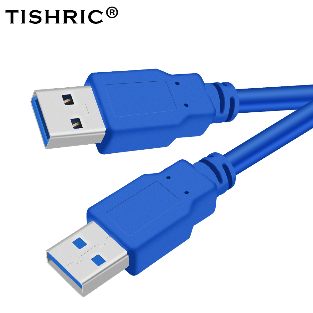 TISHRIC USB To USB Extension Cable USB 3.0 Type A Male To Type A Male For Hard Disk Radiator Computer Super Speed 60CM