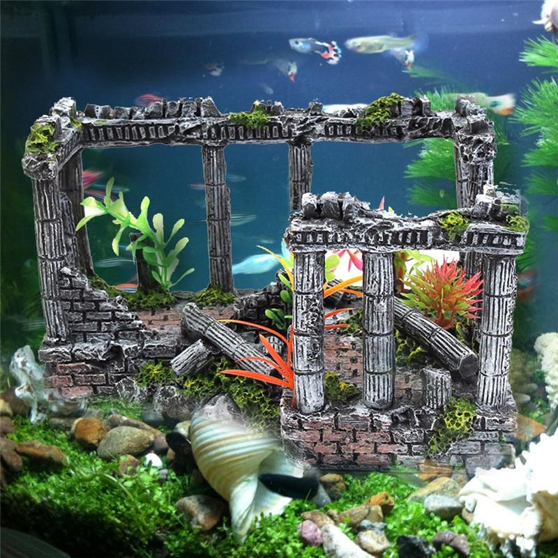 Artificial ancient roman column ruins european castle for Cheap fish tank decorations