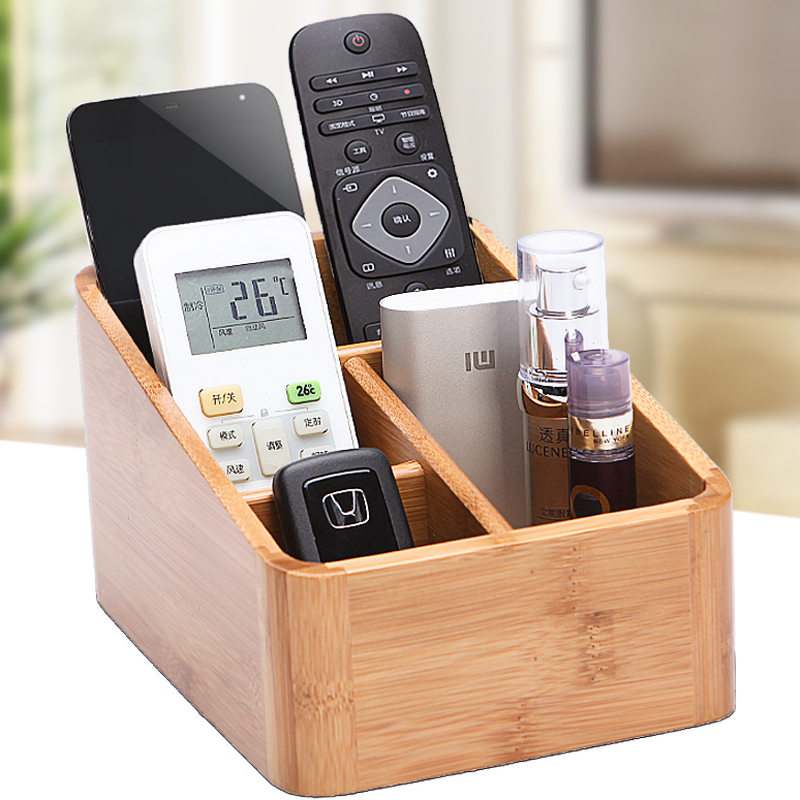 Office Multifunction Desk Wood Bamboo Organizer Home Holder Book Stationery Desktop Storage Box School Supplies 3 lattices wooden storage box retro vintage home bonsai sundries wood box office school desk pen pencil stationery organizer