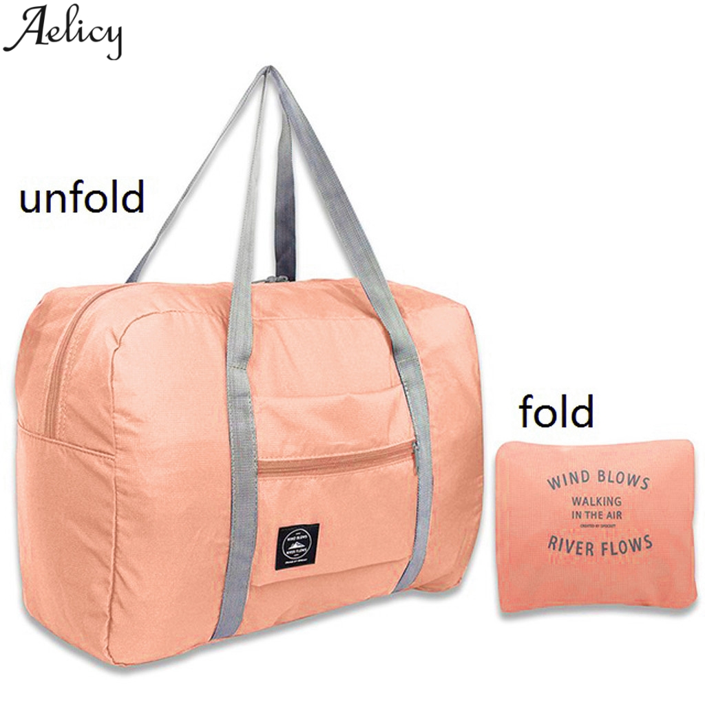 Aelicy Waterproof Nylon Travel Bags Women Men Large Capacity Folding Duffle Bag Organizer Packing Cubes Luggage Girl Weekend Bag