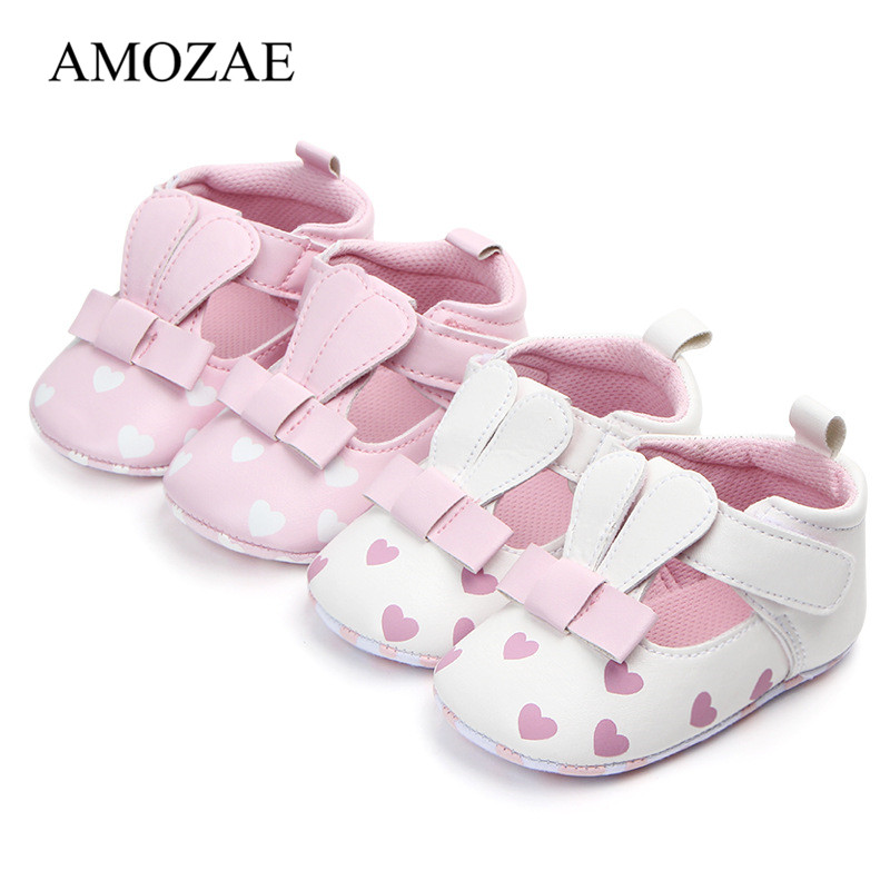 Baby Shoes Pu Leather Print Love Shoes Cute Long Rabbit Ear Baby Girl Shoes Baby Sneaker Soft Sole Anti-slip Shoes Baby Toddler
