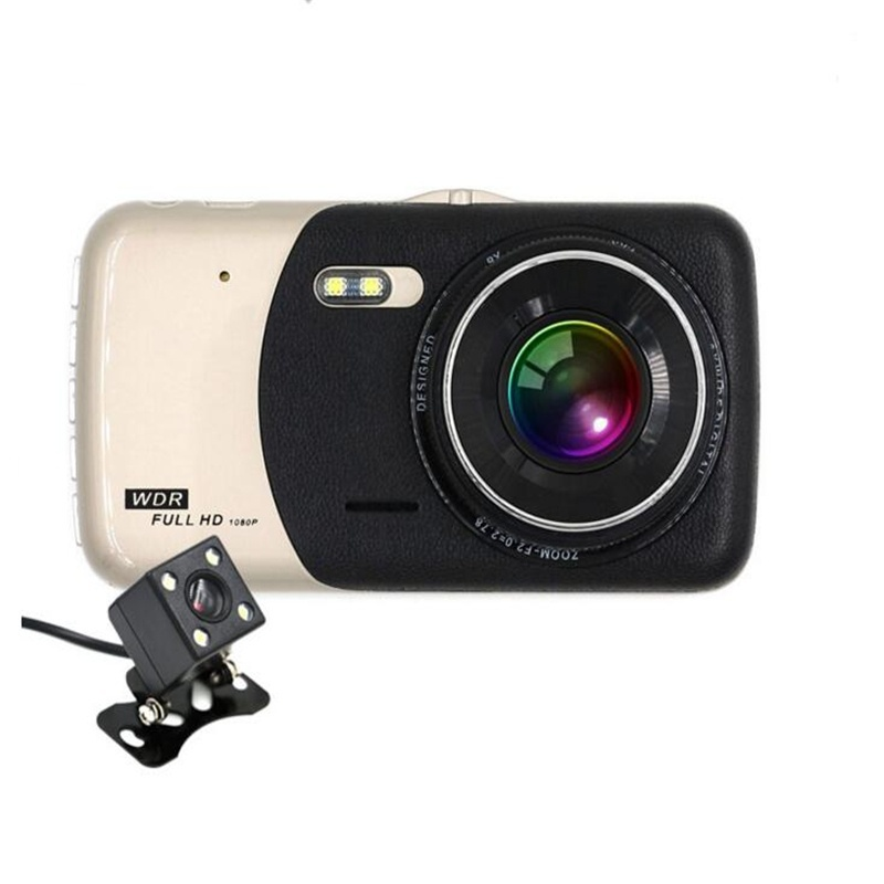 4.0 inch Dash Cam HD 140 Degree Wide Angle Night Vision Auto Rearview Video Recorder Dual Lens Double Recording Car DVR