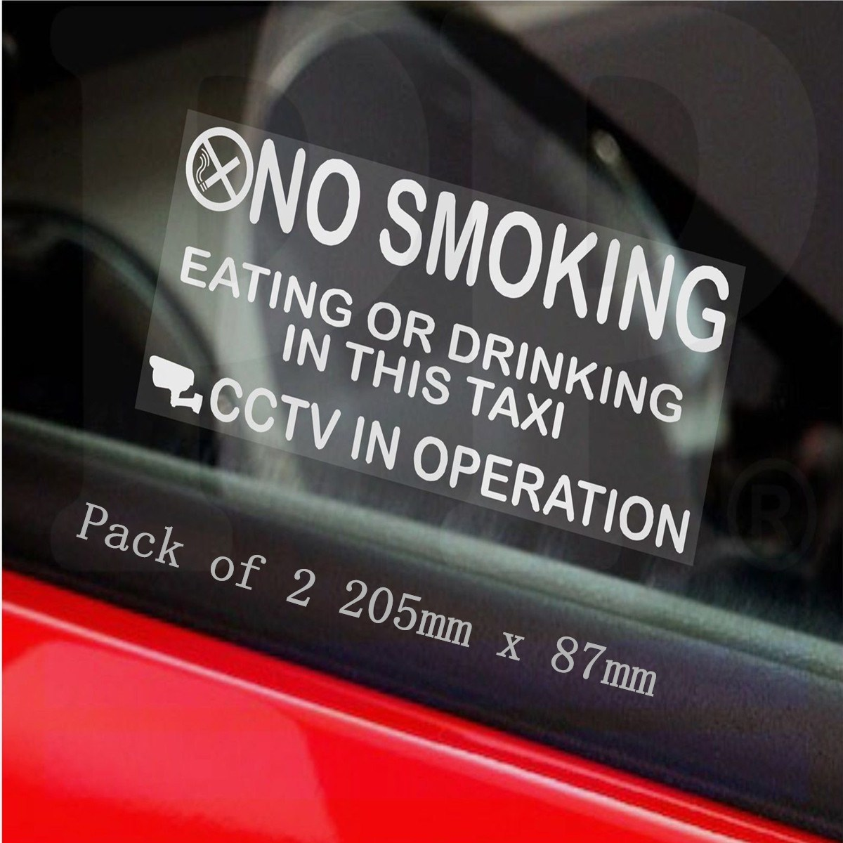 NEW Safurance 2 x Taxi/Minicab Warning Stickers-NO SMOKING Drinking-Cab CCTV Sign Security fire dept no problem metal tin sign 16 x 12 5