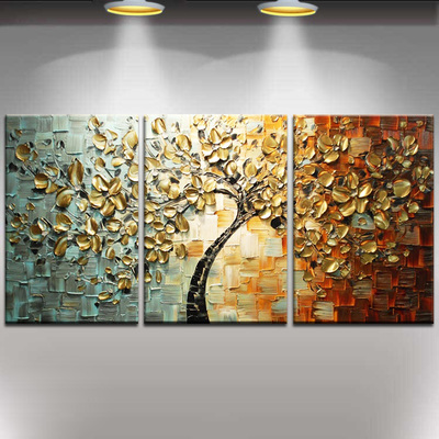 Hand painted thick knife oil painting gold flower tree modern home decor abstract wall art picture for living room on canvasHand painted thick knife oil painting gold flower tree modern home decor abstract wall art picture for living room on canvas