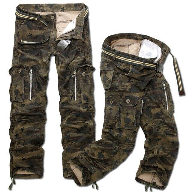 Nueva Moda de Los Hombres Pantalones de Carga de Combate de Camuflaje Militar Ocasional Largos Rectos Flojos Holgados Pantalones de camuflaje Más Tamaño