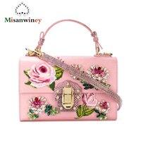 Роскошные итальянские брендовые коробка ретро сумка женский вышивка сумка из натуральной кожи коровы Настоящее Prarl сумка цветок сумочка