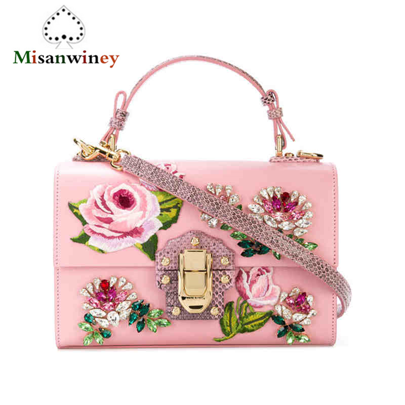 Luxury Italy Brand Box Retro Tote Bag Female Embroidery Shoulder Bag Genuine Cow Leather Real Prarl Messenger Bag Flower Handbag rdywbu 2017 luxury genuine cow leather tote handbag women s colourful flowers patch shoulder bag plaid sewing messenger bag b291