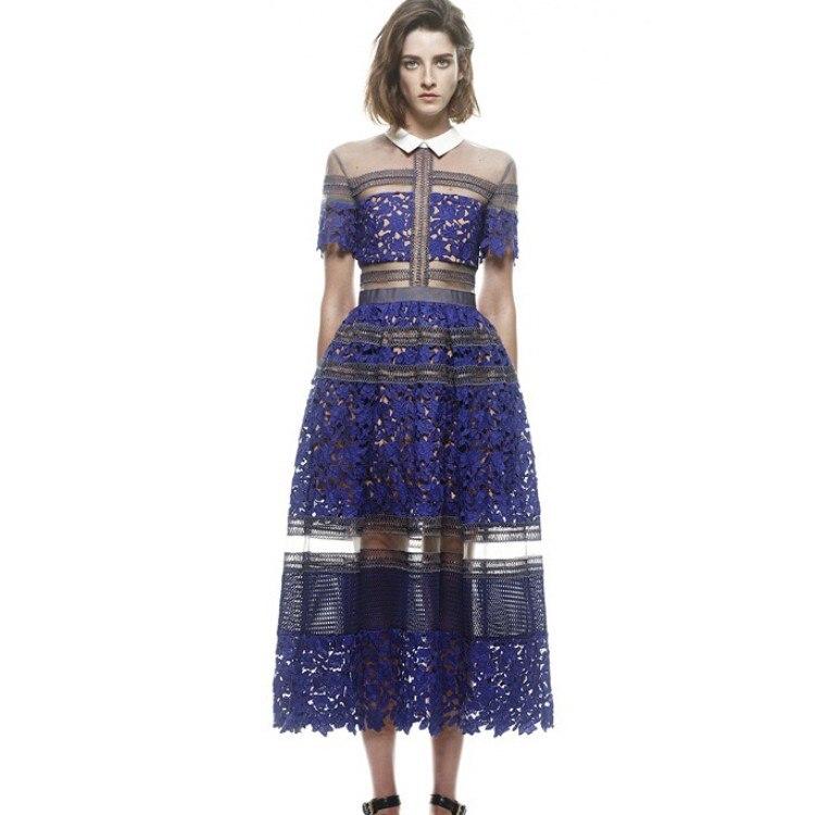 High Quality 2019 Self Portrait Dresses Summer Lace Party Dress Turn down Collar Long women Dresses