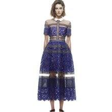 Высокое качество Автопортрет платья летние кружевные вечерние платья с отложным воротником Длинные платья для женщин Vestidos