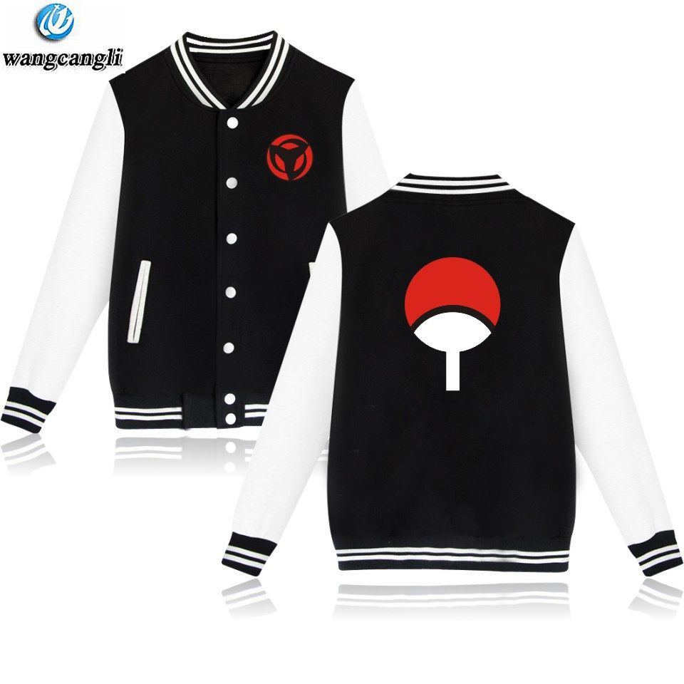 Anime Design Naruto Baseball Sweatshirt Long Sleeve Baseball Jacket Uchiha Hatake Uzumaki Clan Badge Printed Coat Unisex Clothes