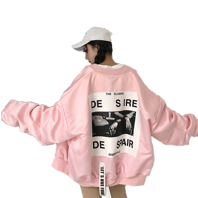 Mola Solta tamanho grande feminino Jaqueta corta-vento Casaco Oversize BF Harajuku Estudante Jaqueta Bomber Jacket Casacos Básicos