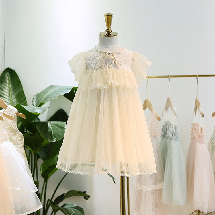 Flower Girl Wedding Dress 2019 Girl Summer Fashion Ruffles Bow Tulle Party Tutu Sundress Kids Clothing Children Clothes 3-8Y