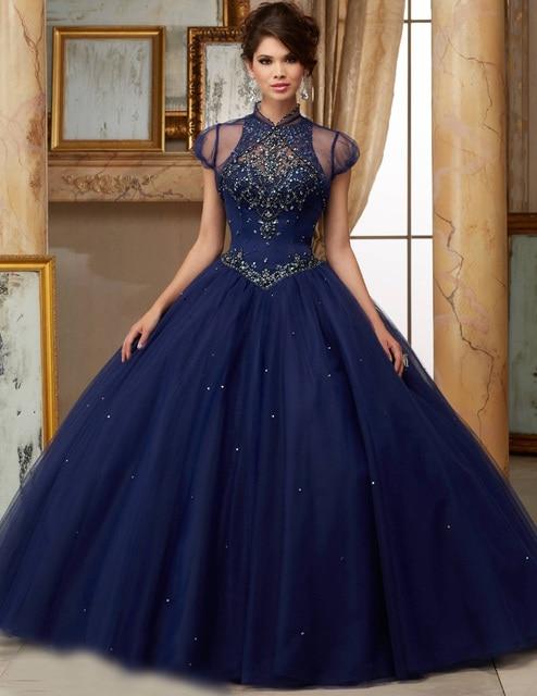 2017 Nova Vestidos de Baile Colher Cristais Azul Marinho Macio Tule vestido de Princesa Quinceanera Dress for Doce 16 Anos Vestido De 15 Anos QR73
