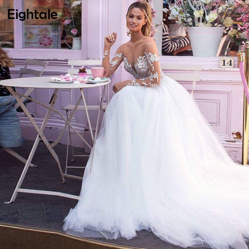 Eightale Boho Wedding Dresses Turkey Beaded Appliques O-Neck Lace Dubai Bridal Dress Long Sleeve Wedding Gowns Vestidos De Noiva