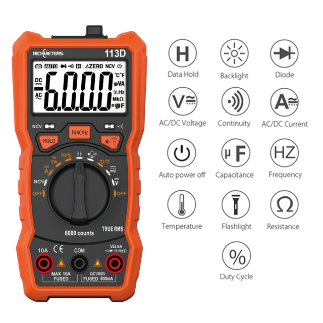 Digital Multimeter AC/DC Voltage Meter With Flashlight