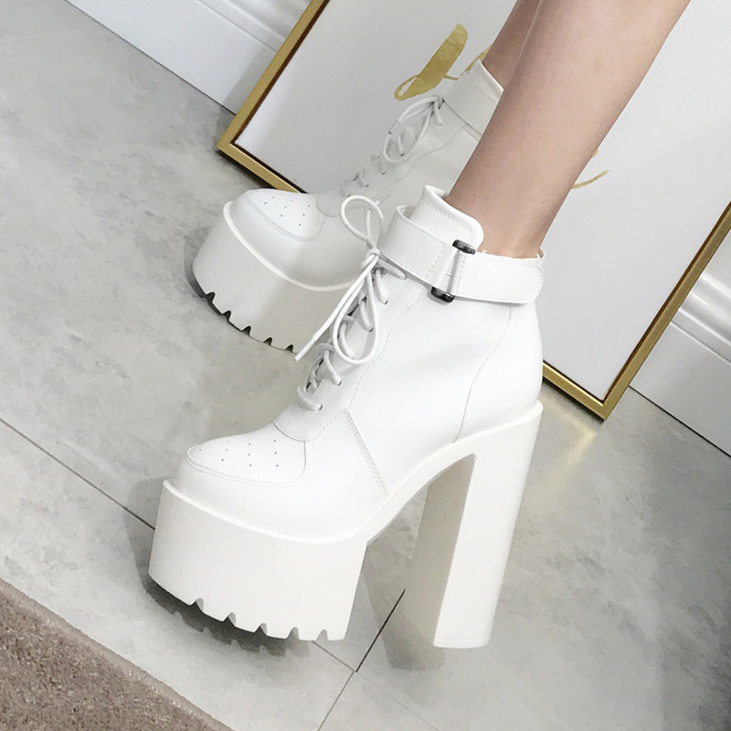 Bar European style women's shoes thick with Martin short boots muffin thick bottom performance black super high heel ds stage