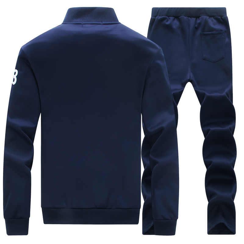 אימונית גברים של הסווטשרט צמר חם ספורט אימוניות זיעה מזדמן Homme גברים אימונית סווטשירט 2 PCS מעיל + מכנסיים 2019