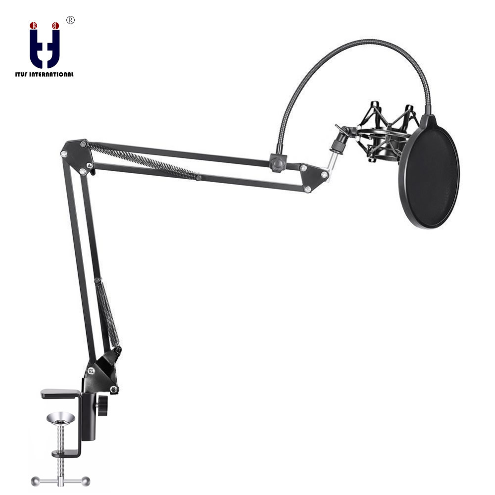 Ituf Microphone Suspension Boom Scissor Arm Stand With Mic Clip Holder & Table Mounting Clamp Kit For Condenser Microphone