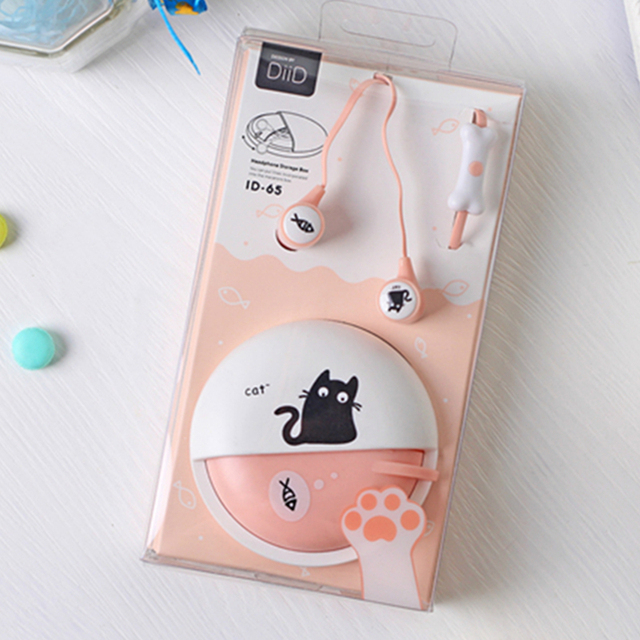 Cute Cat earphone Macarons 3.5mm in-ear Stereo Earphones With Earphone Case For Huawei Xiaomi Girls Kid Child for MP3 MP4 Gift