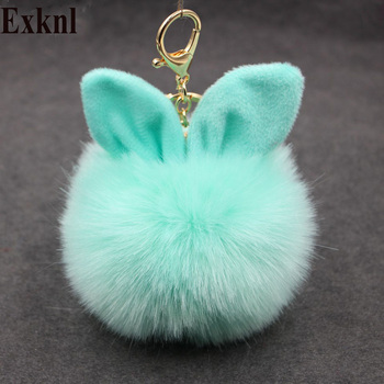 Exknl Car Fluffy Faux Rabbit Ear Fur Ball Key Chain Holder Pompom Artificial Rabbit Fur Keychain Women Car HandBag Keyring