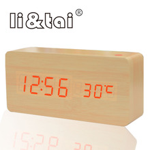 Digital Wooden LED Alarm Clock modern Style Temperature Sounds Control Calendar LED Display Electronic Desktop Table wood Clock