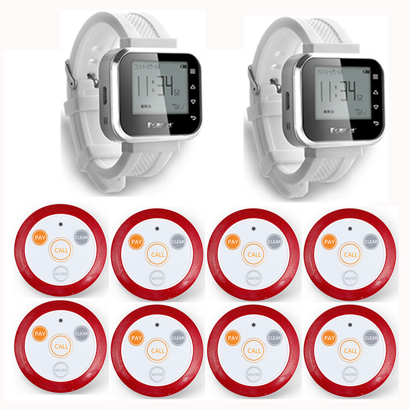 2pcs Hot Sale White Waiter Service Calling System Watch Pager Service System (KR-C166) + 8pcs F64 Wireless Transmitter one set wireless system waiter caller bell service 1 watch wrist pager with 5pcs table customer button ce passed