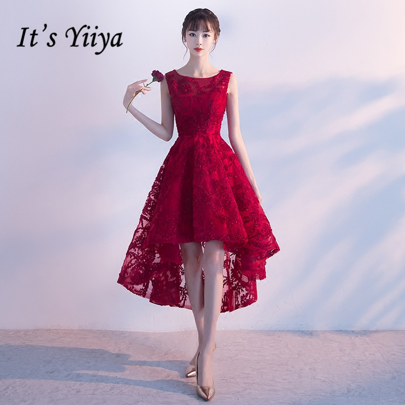 It's YiiYa Sales Red Sleeveless   Cocktail     Dresses   Elegant Flower Pattern Embroidery Illusion Charming   Cocktail   Gown X185