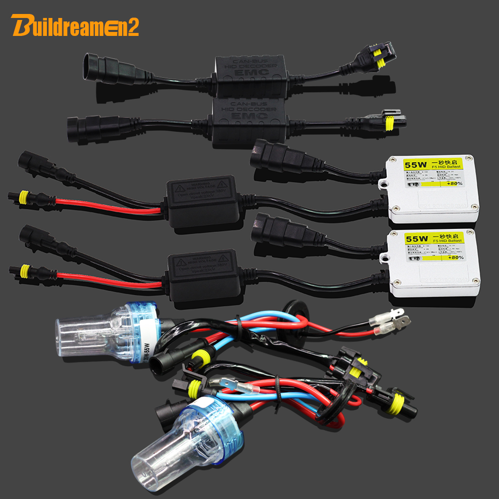 Buildreamen2 H8 H9 H11 55W HID Xenon Kit Anti Flicker Error 3000K-8000K AC Ballast Lamp Canbus Adapter Car Headlight Fog Light buildreamen2 9006 hb4 55w no error hid xenon kit 3000k 8000k ac ballast bulb canbus decoder anti flicker car headlight fog light