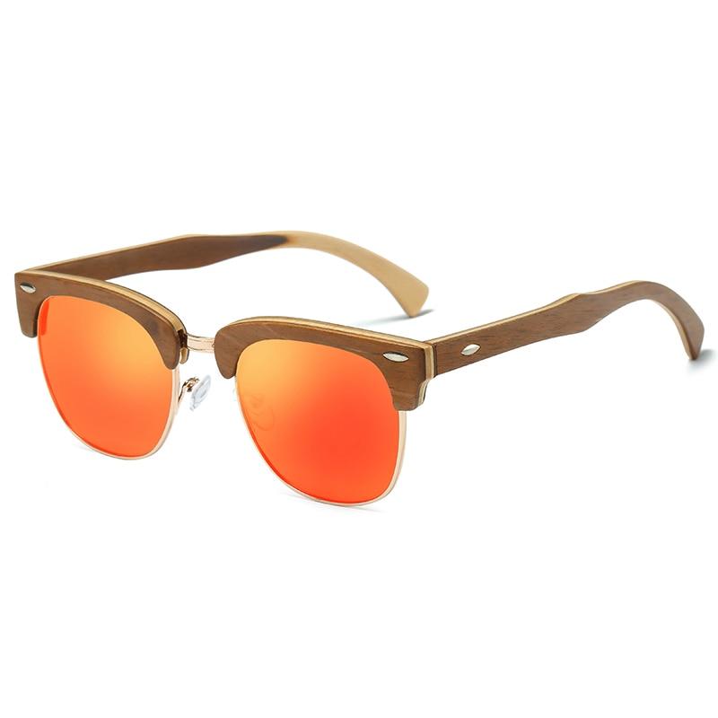 EZREAL Half Wooden Sunglasses Men Women Brand Designer Glasses Mirror Bamboo Sun Glasses Fashion Gafas Oculos De Sol UV400 in Men 39 s Sunglasses from Apparel Accessories
