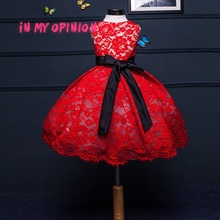 High-end handmade girls Wedding Party Pageant Dress Baby First Communion red Dresse Toddler Gowns Child  Dress vestido