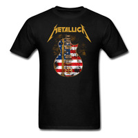 Metallica Hetfield Iron Cross Guitar T Shirt Heavy Metal Rock Cotton Tee Shirt Funny T Shirts