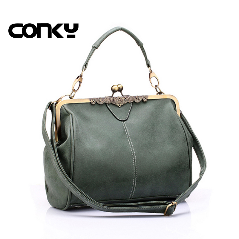 Brand new vintage bags retro PU leather tote bag women messenger bags small green clutch ladies shoulder bag handbags