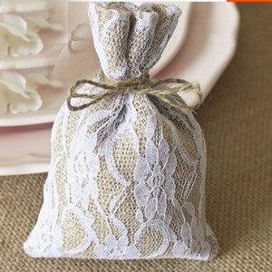 """Image 4 - Laço hessian presente cordão bolsa 10x15cm(4 """"x 6"""") pacote de 50 sacos de embalagem de serapilheira saco"""