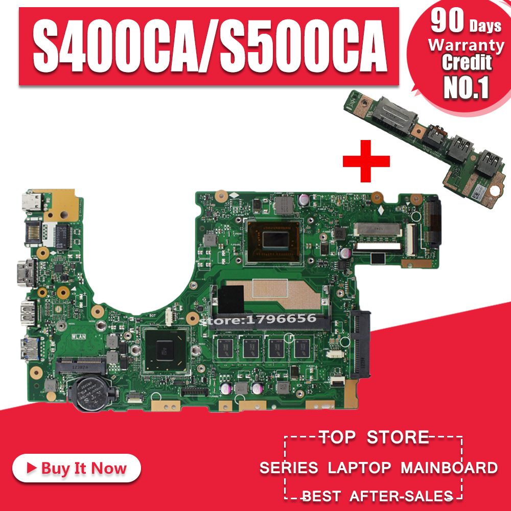 Send Board+S400CA Laptop Motherboard For ASUS S400CA S500CA S400C S500C S400 S500 Test Original Mainboard 4G RAM I5 CPU