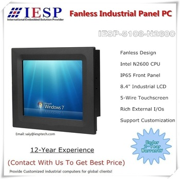 "8.4 inch industrial panel pc, N2600 CPU, 4GB DDR3 Memory,32GB SSD, Fanless all in one touch screen Panel PC, 8.4"" HMI"