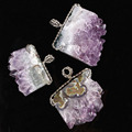 Charm Different Natural Stone Amethyst Druzy Vug Geode Slice Winding Pendant Positive Energy Amulet European Fashion Jewelry1pcs