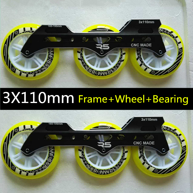 Inline Speed Skates Frame 3X110mm Roller Skating Base ILQ 9 Bearing 110mm Durable PU Skating Wheel